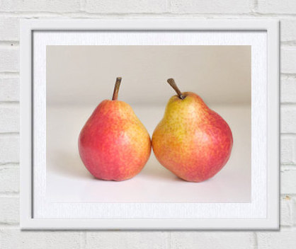 Modern kitchen art, fruit photography, pear print, food picture, kitchen artwork, still life art, red yellow white art for kitchen decor