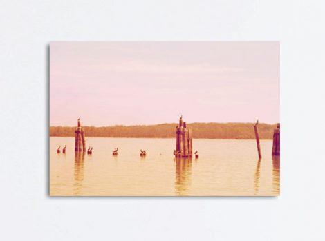 Canvas wall art, lake house decor, landscape art, lake canvas photography, nautical canvas, pink gold ochre wall art oversized, birds art