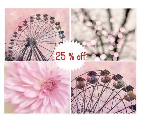 Pink nursery art, baby girl room decor, little girl room art, flower carnival ferris wheel photography, nursery print set 4 11x14 pictures
