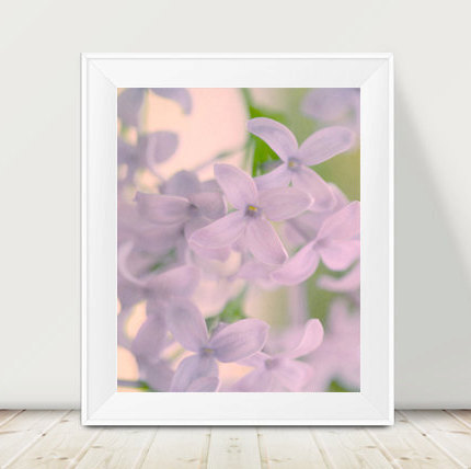 Lilac print, pastel art, lilac flower photograph, pale lavender floral wall decor, art for bedroom, floral print 12x12, 11x14, nursery photo