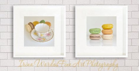 French macaron print still life photography, white kitchen pictures 12x12 food prints, cottage chic kitchen art prints, cafe wall art decor