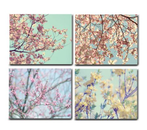 Floral canvas print set, flower canvas photography, 4 canvas gallery wraps, branch art, yellow mint pale blue pink nature wall set botanical