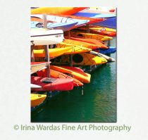Kayak canvas print, boat canvas wall art, colorful art, boys room wall art, beach cabin decor, oversized art, vertical art, red yellow green