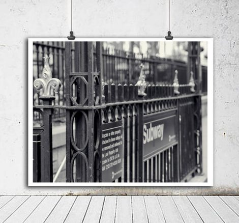 New York subway black and white photography, Bryant Park subway station sign art, nyc Subway print New York City downtown Manhattan wall art