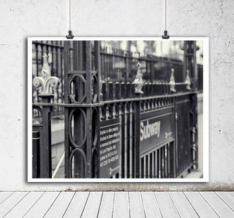 New York subway black and white photography, Bryant Park subway station sign art, nyc Subway print New York City downtown Manhattan wall art