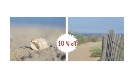 Photography, beach print set of 2 11x14, 8x10 beach pictures, beach fence seashell coastal prints, navy blue ocean nautical decor, beige tan