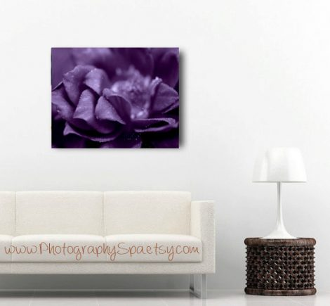 Purple flower canvas, dark photography gallery wrap, purple artwork, modern art large wall art canvas, contemporary decor, black, eggplant