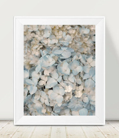 Hydrangea art print, pastel pale blue ivory wall art large floral photography, light blue art, cottage style shabby chic wall print vertical