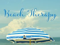 Beach umbrella wall art, Beach Therapy inspirational quote print, white blue teal beach cottage chic decor, coastal photo, nautical art gift