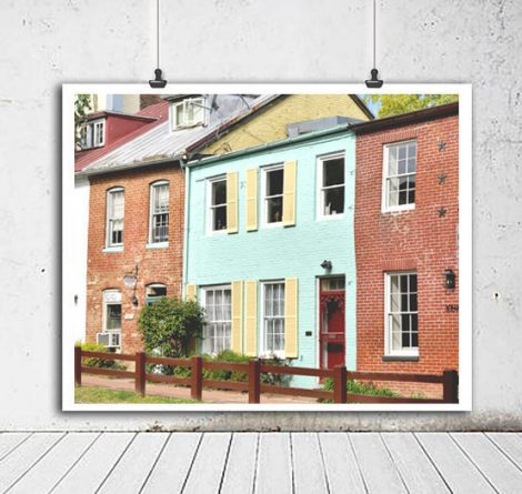 Washington DC Georgetown art print, colorful row houses photography, Georgetown downtown canal, aqua red wall decor, architectural wall art
