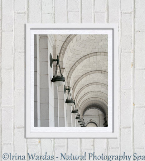 Architecture photography, Beaux-Arts style, travel photography, Union Station DC, architectural print, foyer wall art, entry decor, minimal