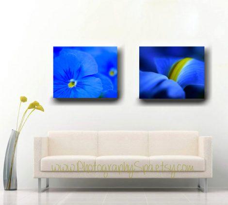 Blue art gallery wall set, floral canvas art, blue flower artwork, floral abstract canvas wrap modern wall art, large wall decor living room