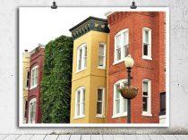 Washington DC art, Georgetown row houses print, colorful building photography urban architecture, green orange mustard yellow wall art decor