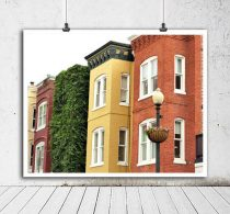 Washington DC art, Georgetown row houses print, colorful building photography urban architecture, green orange mustard yellow wall art decor