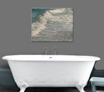 Abstract water art teal canvas art, bathroom artwork large wall art, water canvas, coastal bathroom decor, beach canvas wrap, lake house art