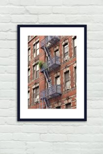 New York City red brick apartments building, fire escape print, red New York large photography, architecture art nyc art print wall decor