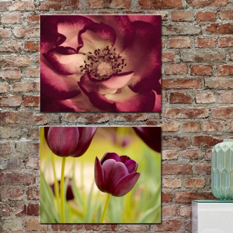 Floral canvas wall art set, burgundy artwork wall decor flower photography, modern canvas print set 2 gallery wraps, dark red mustard green