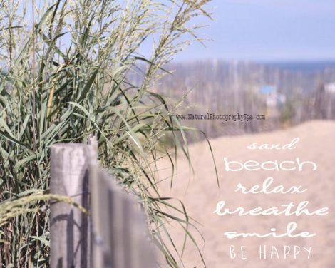Beach quote photography, sea grass sand dune seashore coastal beach life, inspirational beach saying wall art decor, cottage seaside print