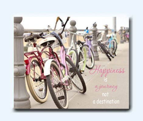 Quote canvas art, beach bike photography, happiness is a journey inspirational canvas wall art, bike lover motivational gift, canvas decor