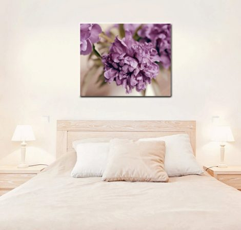 Purple wall canvas, large photography, peony canvas art, plum beige floral canvas print, flower canvas wrap, tan purple bedroom, living room