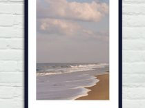 Beach photography Virginia Beach landscape brown grey coastal dorm decor, sea ocean picture, beach house decor, seashore vertical art print