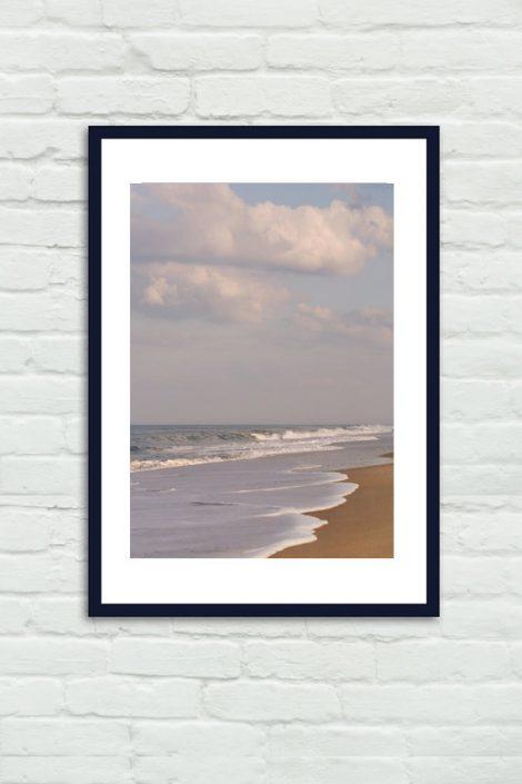 Beach photography Virginia Beach landscape brown grey coastal dorm decor, sea ocean picture, beach house decor, seashore vertical art print