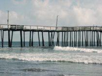 Virginia Beach Pier photography, pier wall art, teal beach house decor, beach print 18x24, 12x16 boardwalk nautical seashore coastal picture