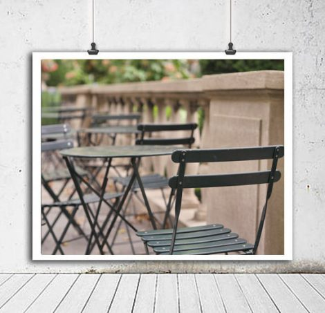 Street cafe print, outdoor cafe bistro tables chairs, large photography, New York City cafe art print, restaurant wall decor, Bryant park