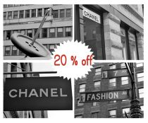 Black and white fashion print set of 4 11x14 photos, New York fashion wall art set, fashion gallery wall decor, fashion street Chanel sign