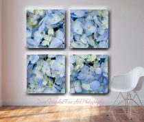 Extra large wall art 4 panel split canvas Hydrangea photograph 4 piece gallery wraped floral canvas, oversized pale blue ivory yellow decor