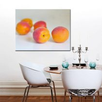 Large kitchen decor, dining room wall art, fruit canvas print, kitchen canvas wrap, colorful food art decor, red yellow apricots on white