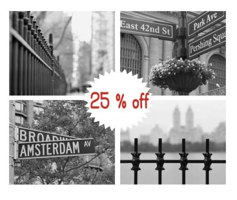 New York pictures black and white art print set of 4 11x14, 8x10, New York City street sign, urban wall decor, nyc photographs, gallery wall