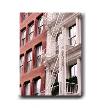 New York photography canvas art, New York City canvas print, red New York art building fire escape print, Soho, large urban wall decor white
