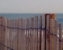 Beach wall art print, beach fence photo, beige tan teal nautical wall art, seahore art large print 11x14, coastal wall art beach house decor