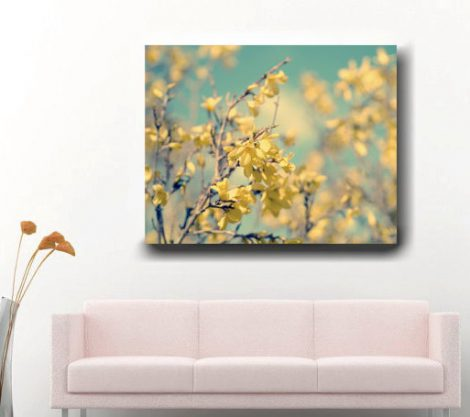 Forsythia photography mint green yellow wall art canvas wrap, yellow flower canvas, floral art decor, large wall art nature canvas wall art