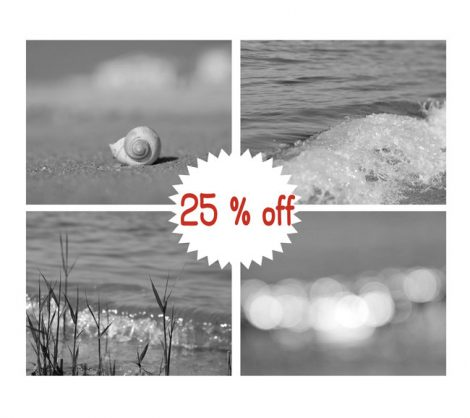 Black and white wall decor beach photography, grey and white nursery art, photo print set 4 pictures 11x14, sea photography, ocean sparkles