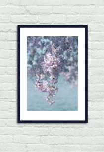 Cherry Blossom photography, aqua pink lavender wall artwork baby girls room bedroom decor, pastel bathroom art, vertical print 11x14, 8x10