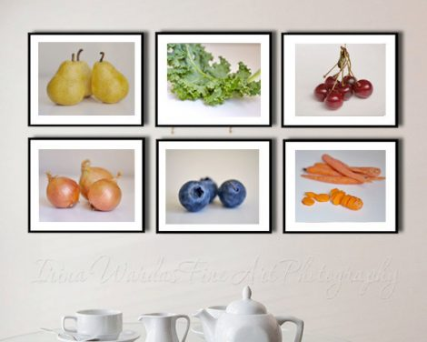 Dining room wall decor, white kitchen wall art set 6 food still life photography, fruit and vegetables, cafe restaurant culinary art gifts