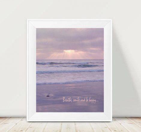Ocean photography, pastel lavender wall art, California beach art print vertical, relaxing art inspirational quote, bedroom coastal artwork
