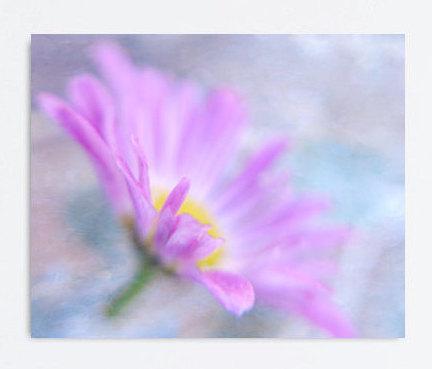 Flower canvas print, large art on canvas, daisy wall art canvas, aqua grey purple modern canvas art, lavender girls room bedroom wall decor