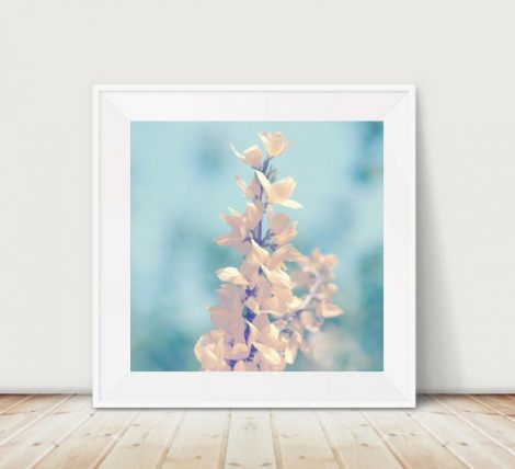 Floral print picture 12x2, teal yellow flower photography, Forsythia spring nature print, turquoise art, nursery wall art, botanical photo