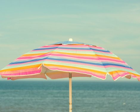 Beach umbrella print art large photography, mint pink teal beach artwork, baby girl room art coastal wall print 11x14, seashore wall decor