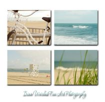Beach art canvas, beach photography set of 4 coastal canvas wraps, beige teal nautical wall decor, ocean canvas prints, beach house art
