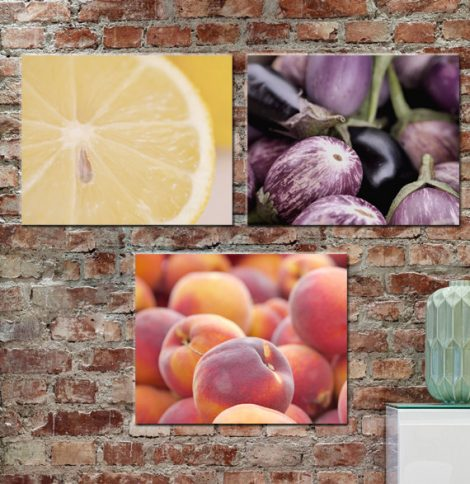 Dining room canvas print set of 3, modern kitchen art set wall decor, kitchen canvas fruit and vegetable gallery wrap 20x20, purple yellow