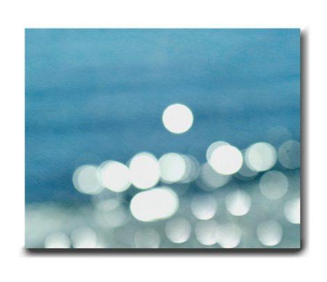 Ocean abstract canvas art, beach abstract canvas photography, light sparkles, bokeh lights, white turquoise decor, modern nautical wall art