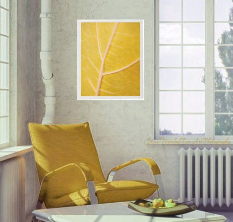 Yellow photography, modern abstract wall art, yellow leaf artwork Nature art print, vertical art, minimalist art, leaf abstract wall decor
