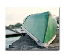 Boat art, boat canvas photography large canvas picture, coastal artwork, nautical canvas wall art, green grey lake decor, boat on the dock