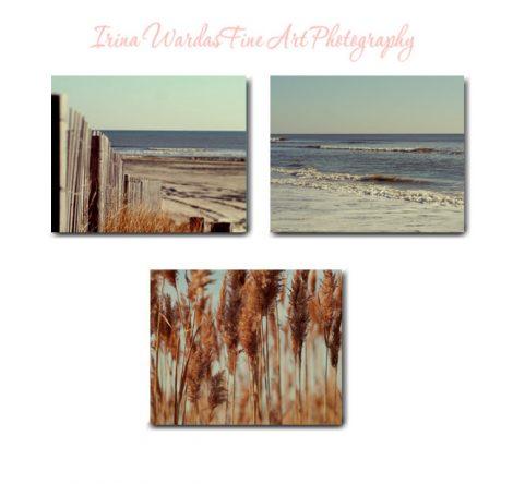 Rustic beach decor, photography canvas art set of 3 coastal gallery wraps, beach art canvas, mint blue rust brown nautical canvas art ocean