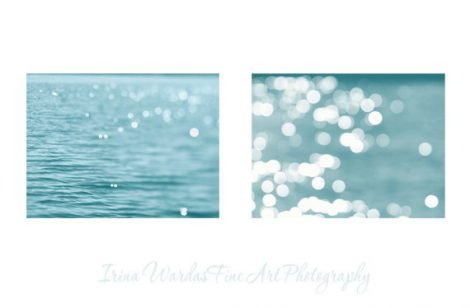 Nautical decor beach abstract light photography set of 2, bokeh sparkles, ocean sea photography 8x10, 11x14, sparkle water ripples teal art