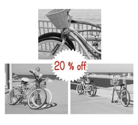 Bicycle art black and white bicycle photography, Virginia Beach bike prints, beach cruiser bike photo, wall art set of 3 bike pictures 11x14